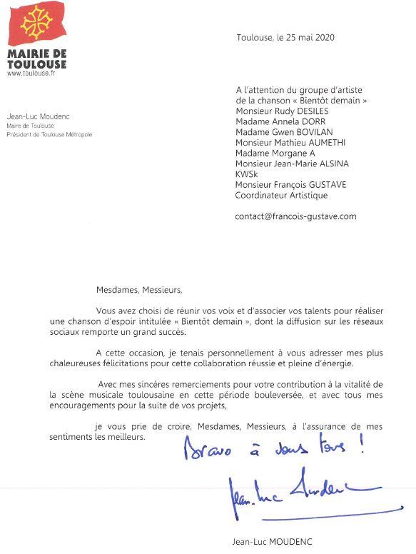 Remerciement du maire de Toulouse